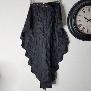 Steampunk HighLow Assymetric Skirt Belt Bumflap XS